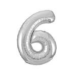 "The 34"" Silver Foil Balloon Number 6 can be used alone or in conjunction with our other numbered balloons. Inflate with air or helium! Perfect for birthdays and anniversary celebrations! One per package."