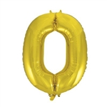 "34"" Gold Foil Balloon Number 0"