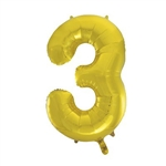 "The 34"" Gold Foil Balloon Number 3 inflates with air or helium and can be combined with other numbers. Perfect for birthdays and anniversary celebrations! Available in silver as well, in addition to other numbers. One per package. Ships flat."