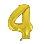 "The 34"" Gold Foil Balloon Number 4 can be inflated with either air or helium, and combined with our other numbered balloons to designate a special year or event. Also available in silver."