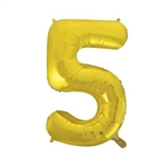 "34"" Gold Foil Balloon Number 5 can be inflated with either air or helium, and combined with our other numbered balloons to designate a special year or event. Also available in silver."
