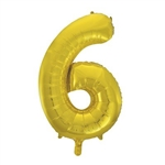 "The 34"" Gold Foil Balloon Number 6 is a fun way to acknowledge an important birthday, whether 6, 16, or 60! Combine with our other balloon numerals to create the digits you need! Also available in silver. One balloon per package. No returns."