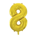 "Use the 34"" Gold Foil Balloon Number 8 in conjunction with other numerals to honor the New Year or a year of graduation. Fill with air or helium. Perfect for birthday and anniversary celebrations as well. One numbered balloon per package."