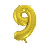 "The 34"" Gold Foil Balloon Number 9 can be paired with our other numbered balloons to create the unique digits you need. Perfect for birthday, anniversary, New Year, or graduation. Inflate with air or helium. One per package."