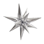 "Make a statement with this Silver Jumbo 39"" Star Burst Balloon. Perfect for so many occasions, the multi-pointed metallic foil star burst measures a whopping 39.3 inches when fully inflated! Assembly required - instructions included."