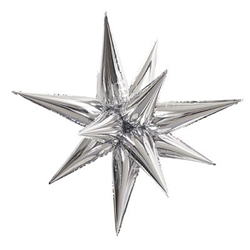 The Silver Star-Burst Balloon is a stunning silver foil balloon that will grab the attention of your event guests. This 3-dimensional multi-point star is easily filled with air and assembled to form the unique shape. Assembly instructions included.