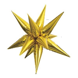 This 27.5 inch Gold Star-Burst Balloon will give your party decorations that WOW factor! Inflate this stunning multi-point star shaped balloon with air and hang. Also available in silver, and a jumbo 39-inch size in both colors. Simple assembly required.