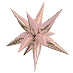 "The 27"" Rose Gold Star Burst Balloon is made of shiny rose gold foil material and measures 27.5 inches when inflated. Contains one per package. Do not over inflate! Quick and easy assembly required"