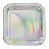 The Iridescent Square Luncheon Plates are made of scalloped paper with a foil cover. They display a beautiful array of colors and will make your tableware shine! Measures 8 3/4 inches and contains eight (8) plates per package. Do not microwave.