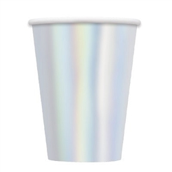 The Iridescent Cups 12oz are made of foil coated scalloped paper. They measure 4 1/2 inches tall and can hold up to 12 ounces of any hot or cold beverage. Contains eight (8) cups per package. Do not microwave.