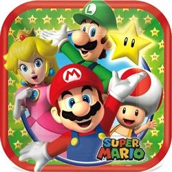 Super Mario Brothers Square Plates 7 inches