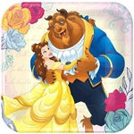 "The Beauty and the Beast Square Plates 7"" are the perfect size to serve up cake and ice cream at your next birthday party. Belle and the Beast are waltzing across these plates, and right into your party. Eight coated paper plates per package."