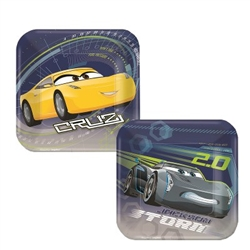 "The Cars 3 Square Plate 7"" are printed with two different designs, one featuring Storm Jackson and the other Cruz! Each plate measures seven (7) inches square and contains a total of eight (8) plates per package - four of each character."