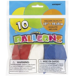 Each package of these Red, White, & Blue Balloons- Asst'd include ten helium quality balloons that inflate to 12 inches. Balloons are assorted within the package in solid colors of red, white, and blue. Show your USA pride!