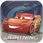 "The Cars 3 Square Plate 9"" features a full color image of Disney/Pixar's Lightning McQueen racing across each plate. These coated paper plates measure 9 inches square and each package contains 8 plates. Matching accessories available!"