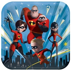 "The Incredibles Luncheon Plates 9"" are made of scalloped paper and measure 9 inches. They're printed with the crime fighting family with a city skyline in the background. Each package contains eight (8) plates per package."