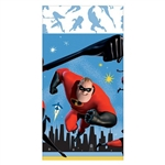 The Incredibles Table Cover is made of plastic and measures 54 inches by 96 inches. It's printed with the superhero family in their ready to attack pose. Contains one per package.