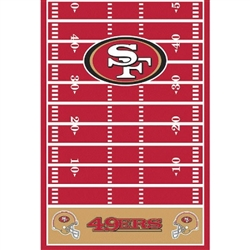 Your game day table won't be complete without the printed San Francisco 49ers Tablecover. Each plastic tablecover measures 54 inches by 102 inches. A red football field is highlighted with the SF log and 49ers end zone.