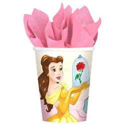Beauty and the Beast Cups 9 oz will serve hot or cold drinks to your favorite little princess and her court. The paper cups are printed with an image of Belle surrounded by lovely roses. Each package contains eight cups, each holding up to 9 ounces.