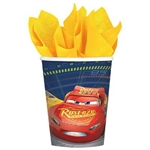 The Cars 3 Hot/Cold Cups feature full color images of Disney/Pixar's Lightning McQueen and other famous Cars 3 characters.  Each package contains eight coated paper cups. Cups hold up to 9 ounces of your favorite beverage.