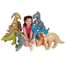 The Jumbo Inflatable Dinosaurs are made of vinyl and when inflated, measure between 27 and 30 inches. Includes assorted dinosaurs. Contains 6 per package. Do not over inflate. No returns. Recommended for ages 3 and up.