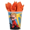 The Incredibles Hot/Cold Cups 9oz are made of sturdy paper and measure 3 3/4 inches tall. They can hold up to 9 ounces of either hot or cold beverages. They're printed with Dash and has DASH in bright yellow lettering. Contains eight (8) per package.