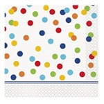 The Rainbow Polka Dot Bday Beverage Napkins feature a white 2-Ply napkin printed with a multi-colored polka dot design. Sixteen (16) paper beverage napkins per package. Folded size measures 5 inches square.