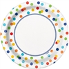 "The Rainbow Polka Dots Plates 7"" are the perfect size for your party appetizers or desserts. These heavy duty 7 inch paper plates are tastefully decorated with a border of colorful dots encircling the outer edge of each plate. 8 plates in each package."