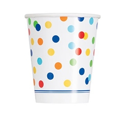 The Rainbow Polka Dot Cups are a colorful way to serve up your favorite beverage. Each 9 ounce paper cup features a white background with an all over design of multi-color polka dots. 8 cups per package.
