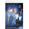 The Harry Potter Photo Props are made of cardstock and attached to a stick. Includes different colored ties, a pair of glasses, a lightening bolt, the sorting hat, and a golden snitch. Printed one side only. Contains eight (8) props per package,