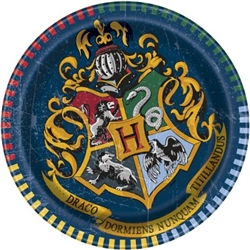 "The Harry Potter Dessert Plates are made of scalloped paper and measure 6 3/4 inches. Printed with the Hogwarts logo and reads ""Draco Dormiens, Nunquam Titillandus"". It means ""Never tickle a sleeping dragon"". Contains 8 plates per package."