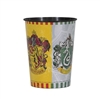 The Harry Potter Plastic Cup 16 oz is made of plastic and measures 4 1/2 inches tall. Can hold up to 16 ounces of liquid. Contains one (1) per package. Do not mucrowave, dishwasher safe- top rack only.
