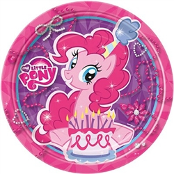 "My Little Pony Round Plates 7"" feature Pinkie Pie sitting in front of her very own cake. These 7 inch round plates are perfectly sized for cake or other treats. Each package contains eight of these colorful paper plates."