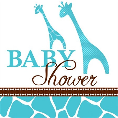 Blue Baby Safari Shower Beverage Napkins (16/pkg)