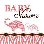 Pink Baby Safari Shower Beverage Napkins (16/pkg)