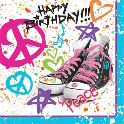Girls Rock! Birthday Lunch Napkins (18/pkg)