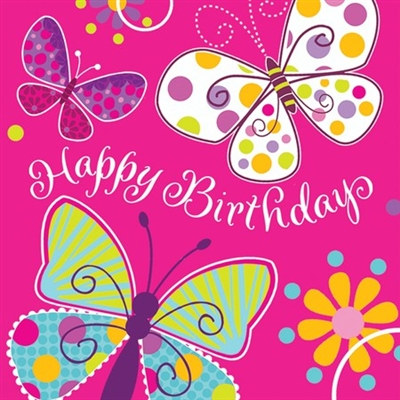 Butterfly Birthday Lunch Napkins (16/pkg)