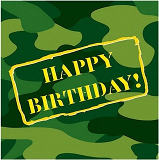 Camo Happy Birthday Lunch Napkins (16/pkg)