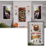 The Creepy Carnival Scene Setter includes 33 pieces of scary clown and other Halloween images to decorate windows and doors. Sizes range from 4 inches to 65 inches. Perfect for covering front doors and windows. Printed on card stock and/or plastic.