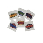 Ink yourself with these temporary Hero Tattoos! The tattoos feature some classic action words seen in comics and don't worry, they look just as good on you as they do in vintage comics! These aren't recommended for children under three years of age.