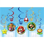Super Mario Brothers Foil Swirl Decorations
