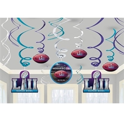 The Super Bowl 52 Swirl Decorations come 12 swirl decorations per package. 6 foil swirl decorations, 3 swirls with 7 inch cardstock cutouts, and 3 swirls with 5 inch cardstock cutouts.