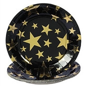 "These 9"" Gold Star Lunch Plates will dress your table in an economical, but elegant fashion. Each package contains 8 black paper plates decorated with various sizes of gold stars. Your guests will feel like VIP's when served with this stylish tableware."