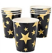 These Gold Star Hot/Cold Cups will make your guests see stars! They'll feel like VIP's when they drink from these stylish paper cups. Each package contains 8 hot/cold paper cups and will hold 9 ounces. Not for microwave use!