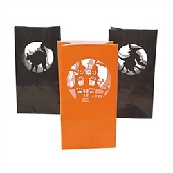 The Halloween Silhouette Luminary Bags come with black and orange bags with cutout designs of a witch, cat, and haunted house. They measure 10 inches tall and 5 inches wide. Indoor or outdoor use. Contains 12 bags per package.