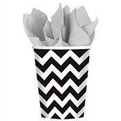 Black and White Chevron Hot/Cold Cups (18/pkg)