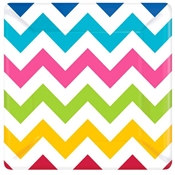 Multi-Color Chevron Dessert Plates (18/pkg)