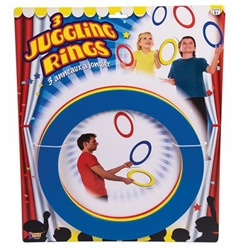 Juggling Rings are a fun way to entertain your carnival guests. Perfect for a circus theme party, let your guests try their hand at juggling these 3 plastic rings. Instructions are included! Three assorted color rings per package. Rings measure 9-3/8 inch