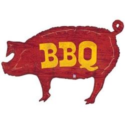 "The 35"" BBQ Pig Balloon is a reddish brown, pig-shaped foil balloon with the letters BBQ printed in yellow on each side. Perfect for food trucks, fair food stands, roadside BBQ's and barbecue events. One per package. Ships flat. Fill with helium."