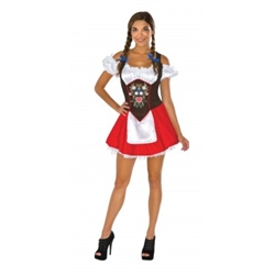 This polyester and felt ladies Oktoberfest dress will be the perfect costume for your next Oktoberfest party. This short, red, white and black dress will fit up to a ladies dress size 12. Not eligible for return.